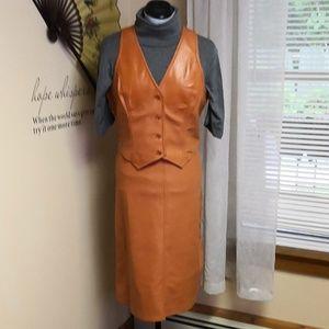 Vintage 1970s faux leather camel skirt set